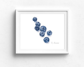 Blueberry Art - Blueberry Kitchen Wall Art - Watercolor Blueberry Print - Blueberry Illustration - Nursery Print - Daycare Art - Food Print