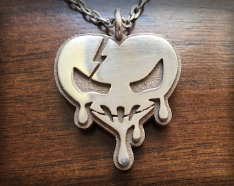For The Love Of Horror Stainless Steel 3D Printed Pendant and Keychain