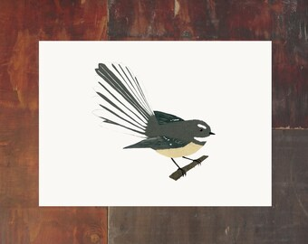 New Zealand Bird Archival Art Print - Fantail Piwakawaka