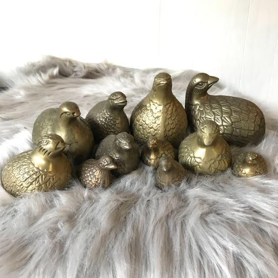 vintage brass quail covey - metal bird sculptures - Leonard Silver miniatures - Set of 11