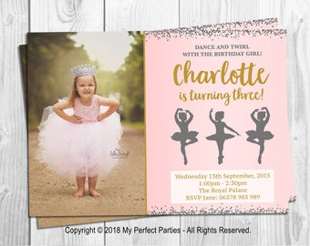 Personalised Birthday Party Invitations, Ballerina, Photo, Pink and Gold, Pink and Silver, Glitter Birthday Party Invitations - PACK OF 10
