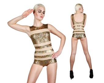 Gold Bodysuit w. Nude Stripes, Holographic Bodysuit, Dancewear, Costumes Burning Man, Stage Wear, Sexy Bodysuit, Cheeky Swimsuit, LENA QUIST