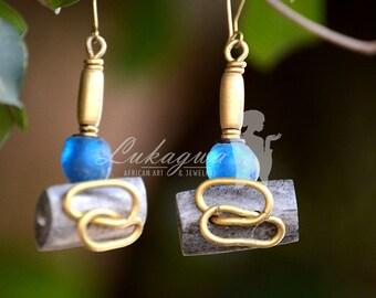 Blue African Drop Earrings,Blue Ethnic Beaded earrings,Afrocentric Blue Earrings