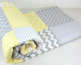 Baby Blanket, Minky Baby Blanket, Baby Shower Gift, Nursery Decor, Baby Quilt, Patchwork Quilt, Yellow, Gray, Grey, Baby Yellow, White