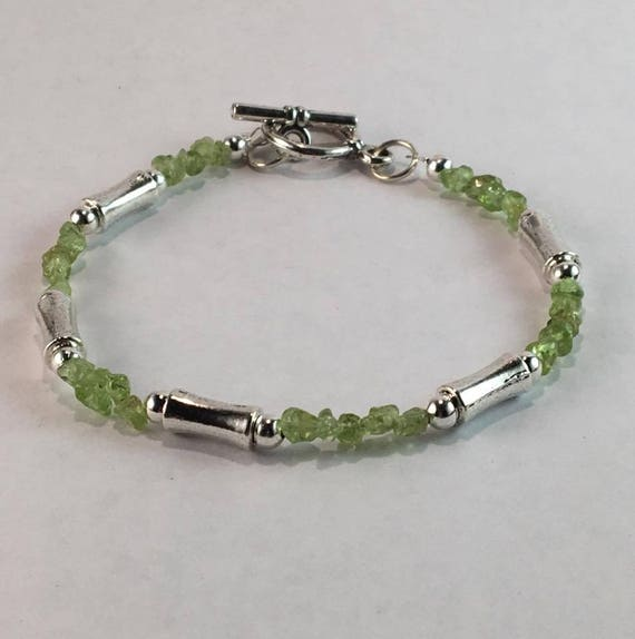 Handmade Mens Genuine Peridot Gemstone Bracelet Jewelry