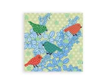 Paper napkin for decoupage x 1 Birdylicious Green . No 1287