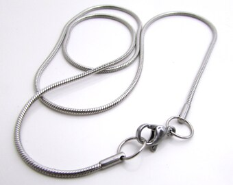 """1.5mm Snake Chain - Stainless Steel Necklace Chain, 18"""" Necklace with Lobster Clasp, Finished Necklace - 1.5mm stainless steel chain (144)"""