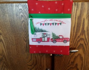 Front Zip Shoulder Bag with Vintage Shasta Trailer & Classic Truck Christmas Art Block Print