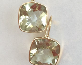 14k solid yellow gold and green amethyst earrings, prasiolite , cushion earrings , checkerboard cut