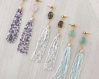 Rose Quartz Glass Beads Tassel Earrings