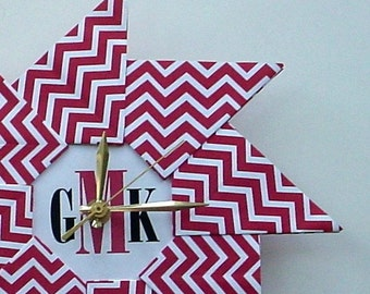 Personalized Chevron Origami Clock - Large - Red -  Great Holiday Gift Under 50