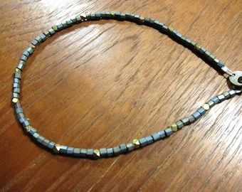 ANK: Silver Blue Anklet, Japanese Seed Beads