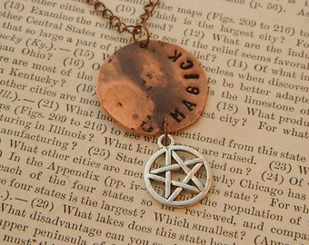 Magick necklace Inspirational jewelry Pentacle jewelry Copper necklace mixed media jewelry