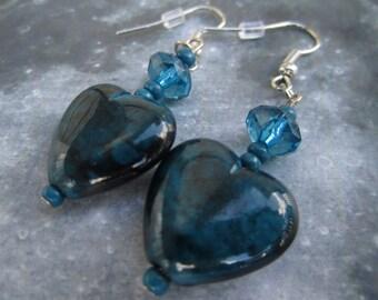 Teal Heart Dangle Earrings
