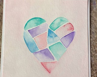Abstract Heart Card, Watercolor card, Hand painted.