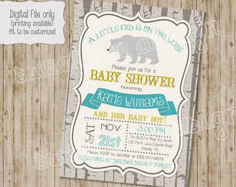 bear baby shower invitation, woodland baby shower invitation, bear birthday invitation, baby bear baby shower invitation, bear invitation