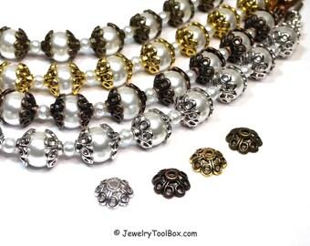 Flower Bead Caps, 4 Petal Bead Cap, Choose Antique Silver, Copper, Gold, Bronze, Hematite, 10.5x10.5x5mm, 2mm hole, Lot Size 50, #2022