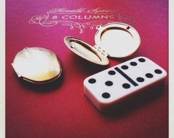 brass locket  pendants oval  -  2 piece -  16mm x 24mm