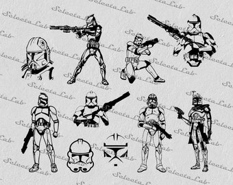 Digital SVG PNG  stormtrooper, republic, star wars inspired, clipart, vector, silhouette, instant download