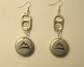 Recycled Can Tab Bottle Cap Earrings Coors Light Beer