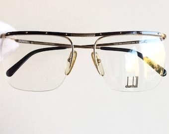 DUNHILL vintage eyewear rare eyeglasses gold square rimless Sunglasses oval 6056 frames clear demo lens horn New NOS