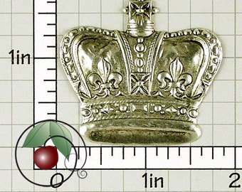 Royal Crown Finding Silver Stamping, Royal Decor, Queen's Crown Made in USA Silver Plated Brass, 1 Pc, 1312so