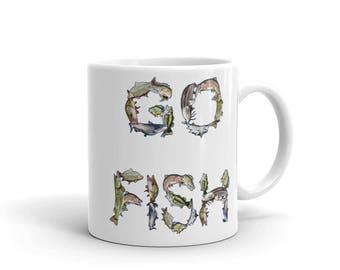 Go Fish Mug made in the USA, Fishing, Sporting, Sports, Outdoors, Bass, Muskie, Northern, Walleye, Bluegill, Catfish, Carp, Trout