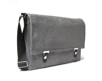 "13"" / 15"" MacBook Pro messenger bag - gray herringbone"