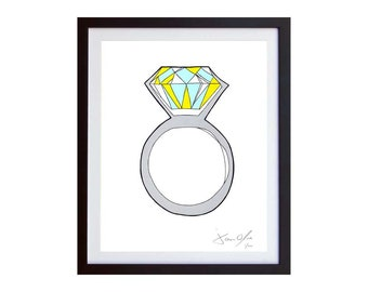Diamond Wedding Ring, Color (Small):Hand Painted on paper,  Framed and Signed Edition of 50  Jason Oliva  Painting Print engagement present