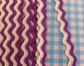 Purple / White Ric Rac Braid 8mm x 2 Meters