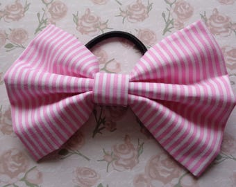 Pink And White Stripe Print Fabric Hair Bow