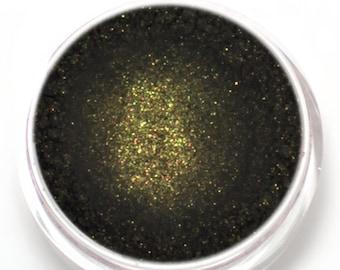 "Black with Gold Shimmer Eyeshadow - ""Goldmine"" - Vegan Mineral Makeup"