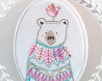 Embroidery pattern Pdf. Bear and bird embroidery design.Woodland animal. Hand embroidery. DIY childrens art.Nursery decor.Whimsical friends