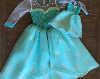 Disney Frozen Elsa Inspired Dolly and Me Costume Set / Elsa Inspired Costume