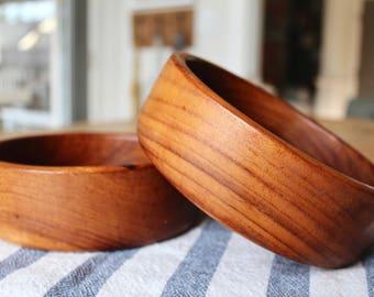 Vintage Wooden Bowls, Salad Bowls, Set of 2