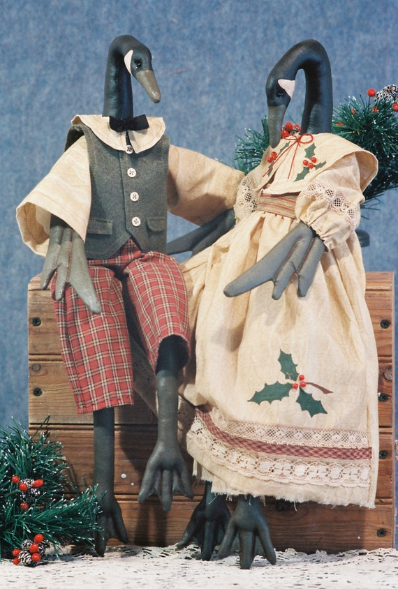 Christmas Geese - Mailed Cloth Doll Pattern 20in Christmas Geese Bird Holiday Dolls