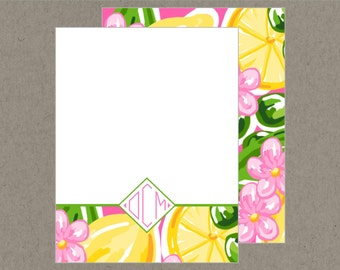 Set 20 Preppy Citrus Diamond Monogram Flat Note Cards with Envelopes  Pink Green yellow - Social Stationery