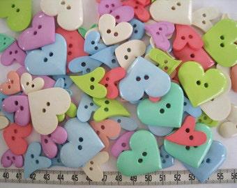 30 pcs of Pastel Heart Button - Blue Purple Green Salmon Yellow Orange Beige