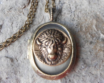 """Choose Bronze or Antiqued Silver - Buffalo Locket -  2"""" Long - Bison, Indian, Plains, American, Vintage Look - Antiqued Look - Great Quality"""