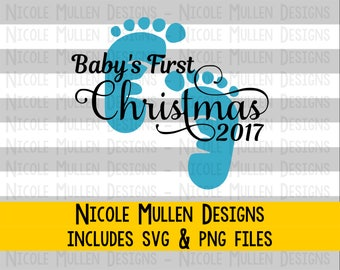 Baby's First Christmas 2017 SVG PNG - Christmas 2017 design - Baby Boy First Christmas - Cricut, Silhouette cutting/vector file