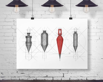 Plumb Bob Series. Giclee Print. Industrial Decor. Builders Art. Home Office Decor. Workshop Decor. Art for Men. Construction Tool