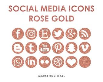 Rose Gold Social Media Icons, Social Media Buttons, Gold Social Icons, Blog Icons, Website Branding, Blog Buttons, Gold Glitter Icons