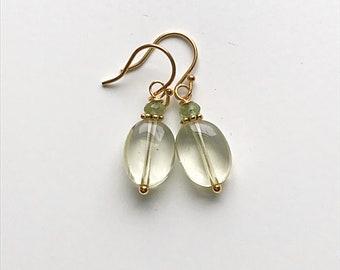 Lemon Quartz Oval and Faceted Peridot Earrings on 14k Gold