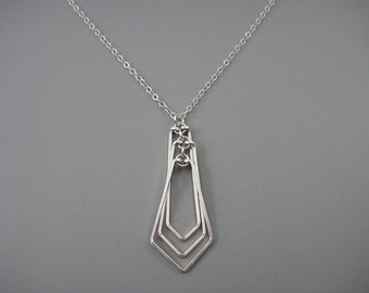 Silver Geometric Necklace - minimalist art deco jewelry, engineer or math teacher gift - Tiered Kite