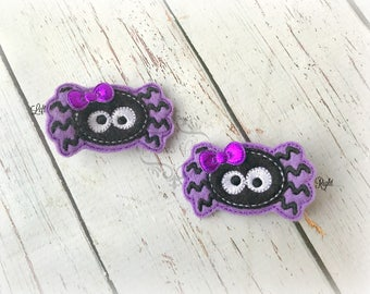 Halloween Hair clip Spider Embroidered Felt Hair Clips Pick one or two. Pick Left side or Right.