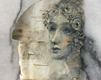 Soul of Music Birch Bark Original Painting wall art Woodland Theme Art woman's face nature natural