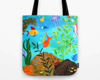 Happy Fish Tote, Artsy tote bag availble in 3 sizes