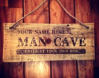 Custom Rustic Handmade Wooden Man Cave Sign