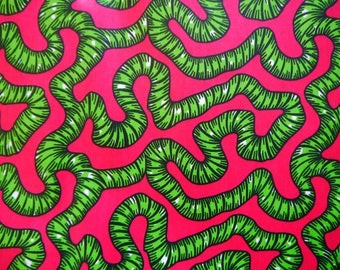 Pink and green vine print african wax print cotton
