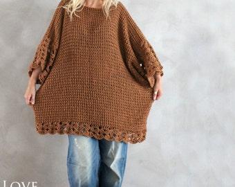 Plus Size Kleid Dress übergeben übergroße Pullover braun Plus Size Pullover übergroße Tunika handgemachte übergroße Pullover stricken Pullover